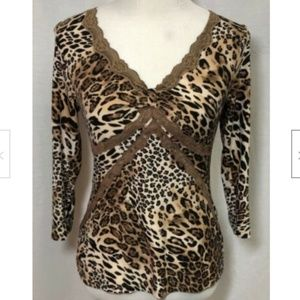 Ambrielle Women's Animal Print Top - Size Small